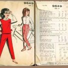 Vintage 1960's Advance Pattern #9649 Girl's Blouse, Pants, & Jerkin Size 12