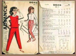 Vintage 1960's Advance Pattern #9649 Girl's Blouse, Pants, & Jerkin Size 12