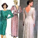 Butterick 4902 RIMINI Ruched Deep-V Back Cocktail Dress Vintage 80's Sewing Pattern B36-40 UNCUT