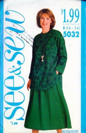 Butterick See & Sew Pattern #5032 Top & Skirt 16-18-20-22-24 UNCUT