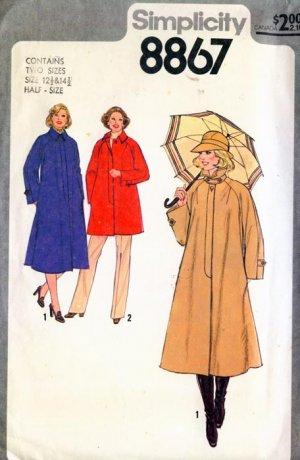 Vintage 70's Simplicity Jacket Coat Pattern 8867 12.5 & 14.5  UNCUT