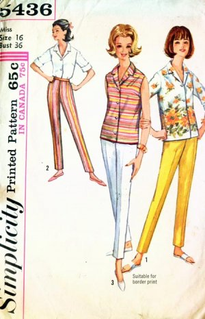 1964 Simplciity pattern #5436 Blouse cigerette pants Size 16 Bust 36