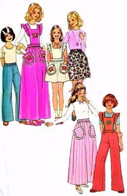 Vintage 70s Simplicity 7279 Girls skirt , pants with detachable bib Size 10 UNCUT