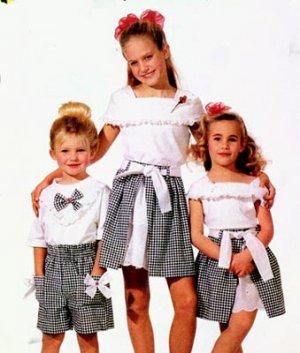 McCalls 6548 GITANO T Shirt Top Skirt and Shorts Girls (Size 7-10)
