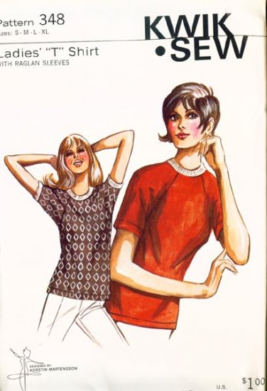Vintage 70s Kwik Sew 348 Ladies T shirt with Raglan sleeves Size Small to Xlarge (B34-44.5) UNCUT