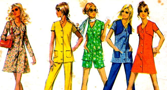 Vintage 70s McCalls 2415 Mini Bolero Dress or Tunic and pants Size 14 (36-27-38)