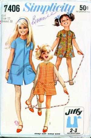 60s Simplicity 7406 Girls Jiffy Mod Pantdress or PantJumper Vintage Sewing Pattern Size 12