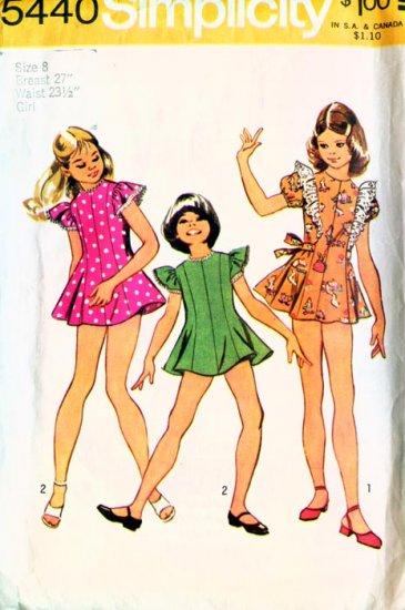 Vintage 70s Sewing Pattern Simplicity 5440 Girls Mini Dress and Bikini Pants Size 8