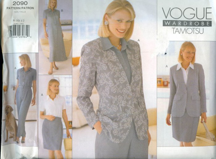 Vogue Pattern 2090 Wardrobe Tamotsu Misses Jacket, Dress, Top, Skirt & Pants Size 8-12 UNCUT