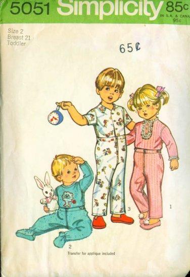 Simplicity #5051 Toddler's Pajamas & Transfer Pattern Size 2
