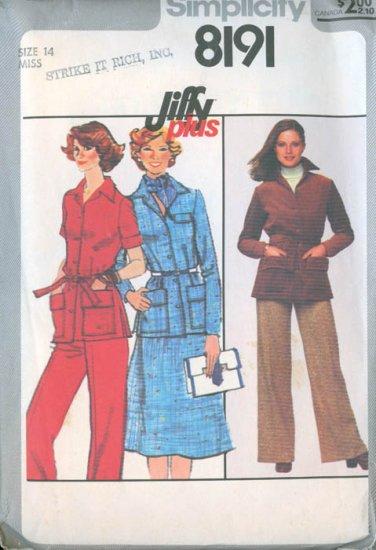 Vintage 70s Simplicity 8191 Jiffy Pants, Skirt and Jacket Szie 14 Bust 36 UNCUT