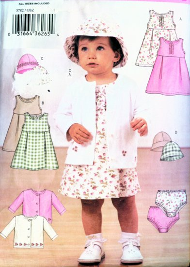 Butterick 3782 Infants Dress Sweater Panties adn hat Sewing Pattern Size Small