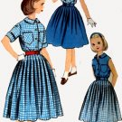 Vintage 60s Simplicity 2433 Girls FULL Skirt and Blouse (Like Mothers) Size 7