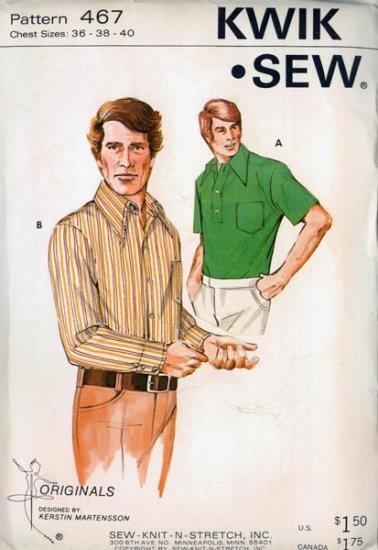 Vintage 70s Kwik Sew 467 Mens Casual Shirt Pattern Chest 36-40 UNCUT