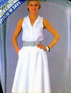 Vintage 80s Stitch N Save 8600 Sleeveless Top and Skirt Size 6 to 10 UNCUT