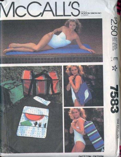 Vintage 80s mcCalls 7583 Picnic Package pattern Beach Mat, Exercise mat, Picnic Bags UNCUT
