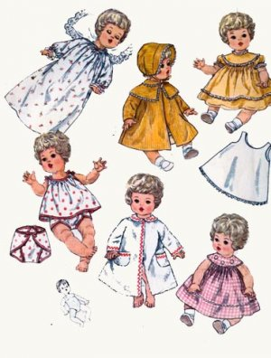 Vtg 60s Simplicity 4727 BETSY WETSY, CARRIE CRIES, SWEETIE PIE, TINY TEARS Doll Clothes Pattern