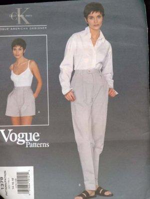 Vogue 1379 American Designer Calvin Klein Shorts adn Pants Sewing Pattern Size 14-18 UNCUT