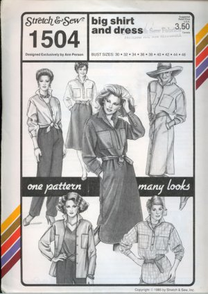 Vintage 80s Stretch & Sew 1504 Big Shirt and Dress UNCUT Bust Size 30-46