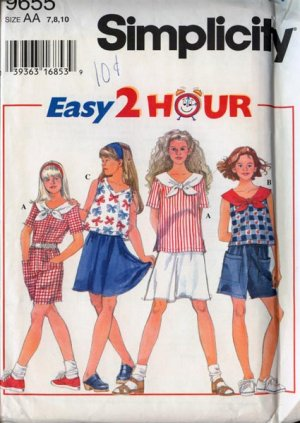 Simplicity 9655 2-Hour Girls Separates Size7-10 UNCUT