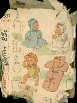 Vintage 40s Simplicity 2537 DollS Clothes 15 inch Doll Sewing Pattern