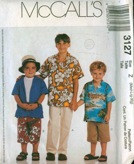 McCalls 3127 Boys Shirt and Pants Pattern Med, Lg, XLg UNCUT