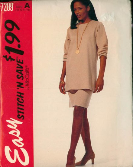 Easy McCalls Stitch N Save 7209 Misses Tunic and Skirt Size 10-16 UNCUT