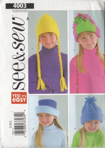 See and Sew 4003 Kids Fun Winter Hats UNCUT