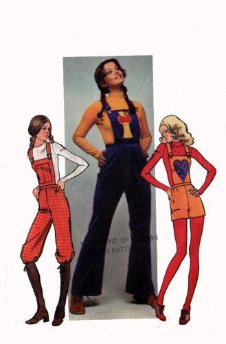 1970s Simplicity 9573 Junior Petite Sewing Pattern 70s Pants & Overalls Size 11JP Waist 25.5 Hip 35