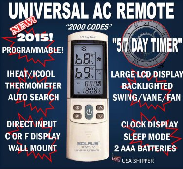 Universal AC Remote Control With 5/7Day Timer