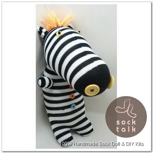 Handmade Sock Monkey Zebra Stuffed Animals Doll