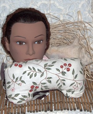 Reversible Cherries and Plaid Neck Pillow with real lavender