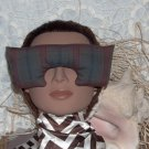 Plaid cotton Eye Mask - wide with larger nose opening