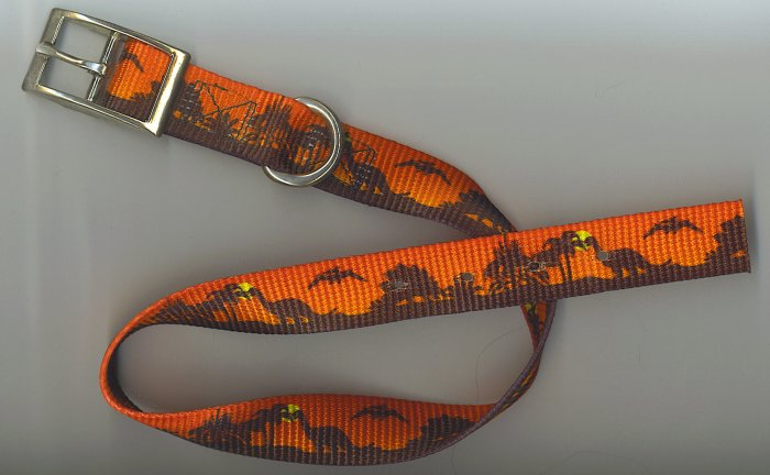 dinosaur design one inch wide collar with metal buckle for size 20-23 inch neck