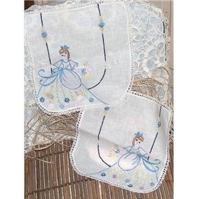 2 dressing table scarves - hand embroidered Victorian Lady