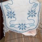 36 inch Blue Flowers hand embroidered dresser scarf-doily