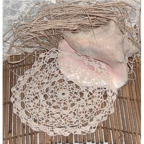 handmade crocheted doily - vintage 11x11 inch round