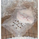 handmade crocheted doily - vintage 14 x 11 inch