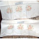 Hand Embroidered pillowcases - Yours and Mine orange floral