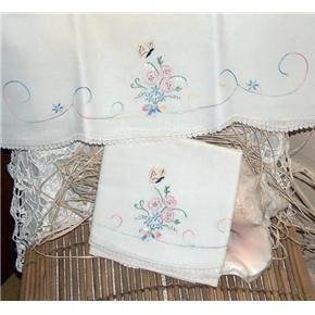 Hand Embroidered pillowcases Lily-of-the-Valley... butterfly