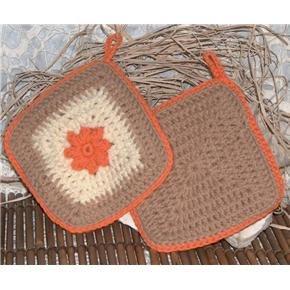 Crocheted orange-tan-off-white Decoration Potholder Handmade