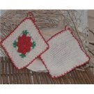 Crocheted white-red Wall Decoration Potholders Hand Made