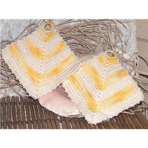 Crocheted yellow-white Decorative Potholder Handmade Vintage