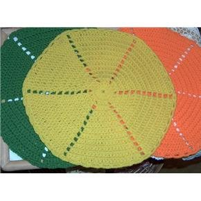 set of 3 large hot pads or placemats 15 inch rounds handmade