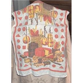 vintage linen kitchen towel artisan cheese and bread design