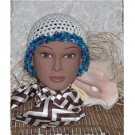 white with ocean blues feather trim designer hat - Crocheted