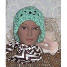 mint green designer hat - larger size Hand Crocheted
