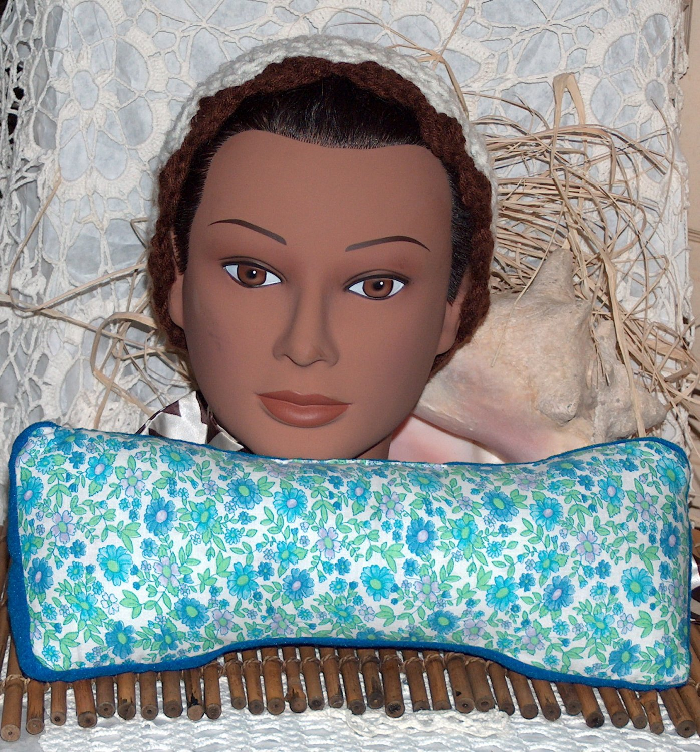 Peacock blue... neck pillow or travel pillow - real Lavender