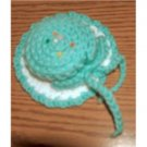hand crocheted hat pincushion - mint green and white...