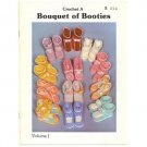 Crochet patterns for 12 different baby booties 1986 Bouquet of Booties